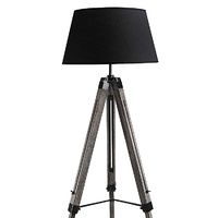 Tripod floor lamp with black shade