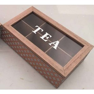 Tea box with clear top, gold pattern