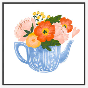 Thin Floating Frame - Tea Pot Floral - 30x30cm