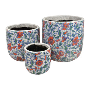 POPPY S/3 CERAMIC POTS 23x23x24cm-GREEN - Sizes sold separately