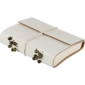 Leather Notebook White Fold