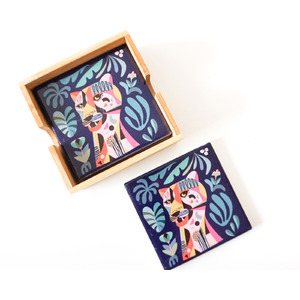 Artist Lab - Rachel Lee - Leopard - Ceramic Coaster Set