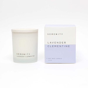 White glass jar soy candle 11oz - Lavender Clementine