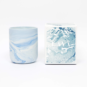 Marble ceramic mini jar 4oz soy candle (Blue) - Sea salt Rose