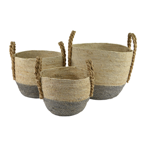 Set of 3 round maize colour dip basket- white/blue