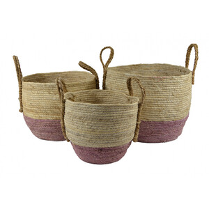 Set of 3 round maize colour dip basket- Sizes sold separately