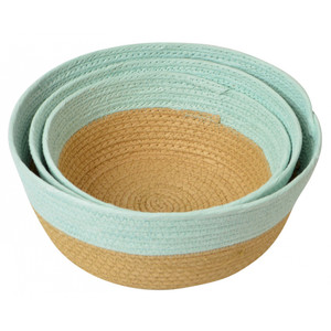 Large round paper weave bowl basket-mint/natural