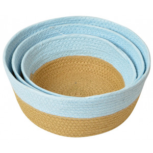 Small round paper weave bowl basket-blue/natural