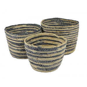 s/3 round maize baskets-nat/navy-24x18cm