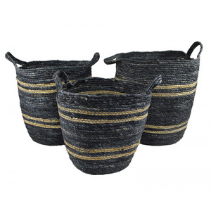 s/3 round maize baskets-nat/navy-38x40cm