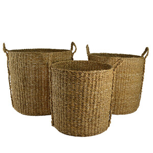 S/3 tall round natural seagrass basket - 50x47cm -  Sizes sold separately