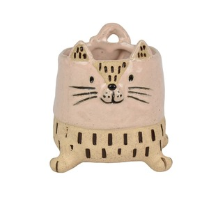 Celeste Cat Cer Planter 9.5x9.5cm Nat