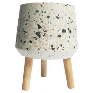 Terrazzo Planter with Legs Beige & Pink Med 20cm