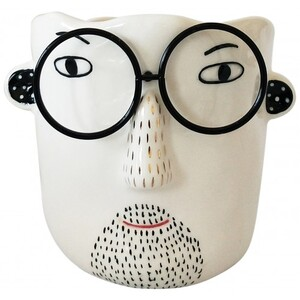 Man with Glasses Planter White & Black 10cm