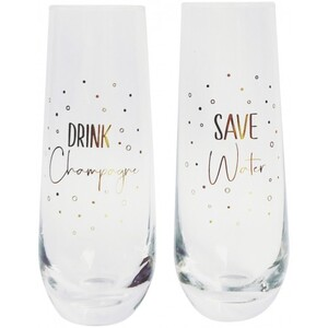 Save Water Drink Champagne Glass Gold S/2