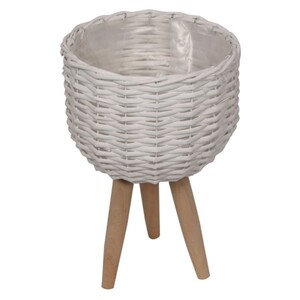 20w 30h white wicker pot holder with legs